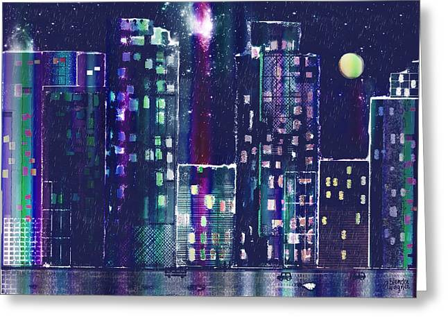 Rainy Night In The City Greeting Card by Arline Wagner