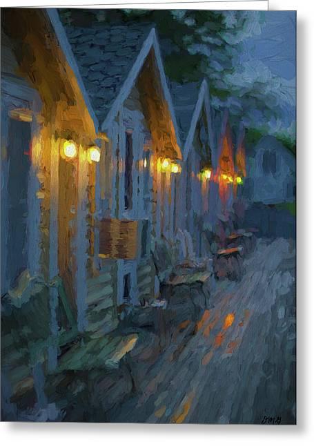 Rainy Night Motel - Painterly Greeting Card by David Gordon