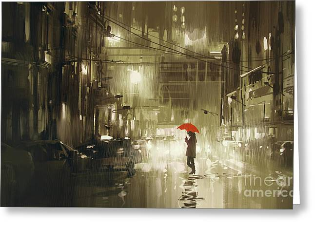 Greeting Card featuring the painting Rainy Night by Tithi Luadthong