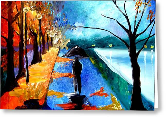 Rainy Night Greeting Card by Tom Fedro - Fidostudio