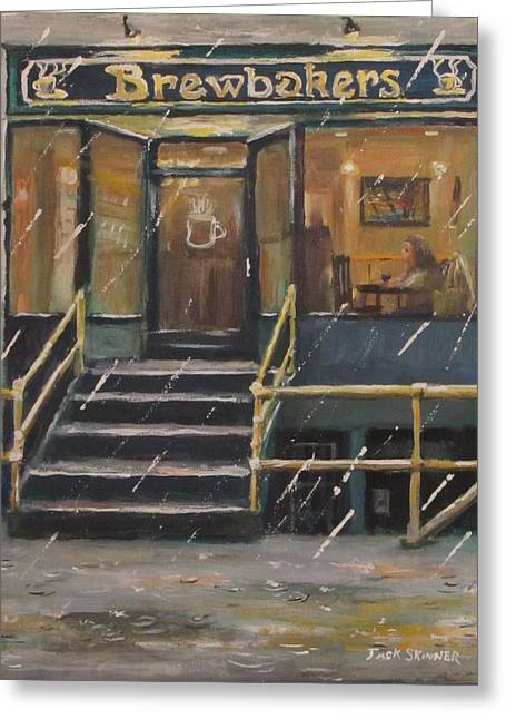 Rainy November Afternoon Coffee Greeting Card