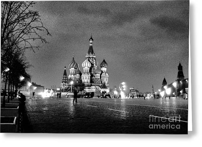 Rainy Red Square At Dusk Greeting Card by Steve Rudolph