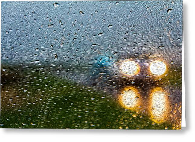 Rainy Ride Greeting Card