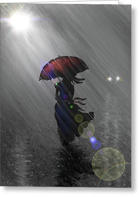 Greeting Card featuring the digital art Rainy Walk by Darren Cannell