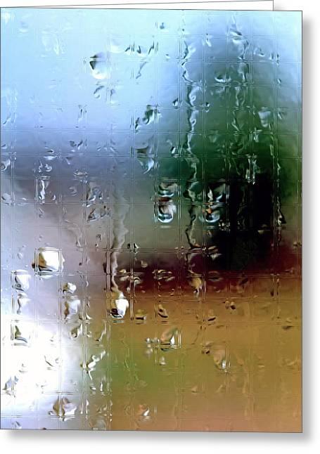 Rain Streaked Window Greeting Cards - Rainy Window Abstract Greeting Card by Steve Ohlsen