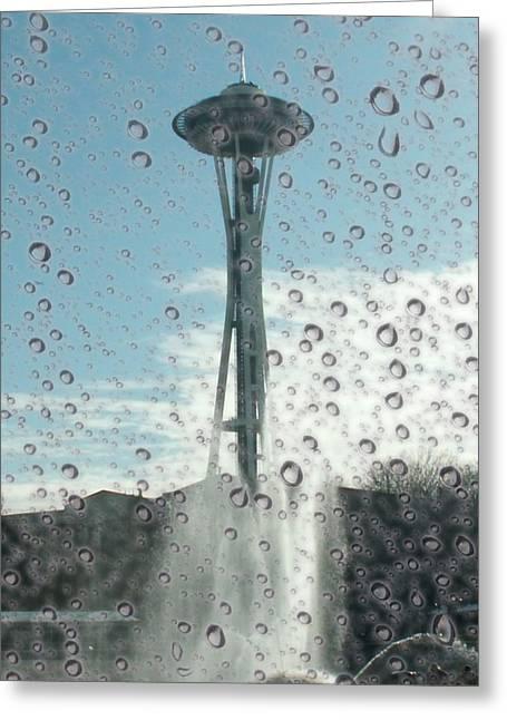Rainy Window Needle Greeting Card by Tim Allen