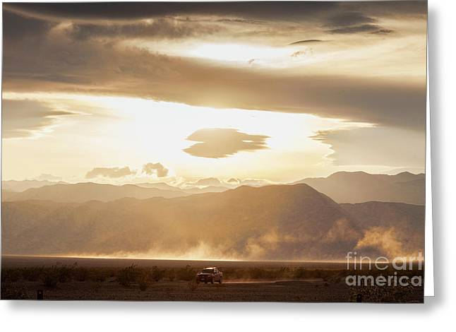 Raising Dust In Death Valley Greeting Card by Colin and Linda McKie