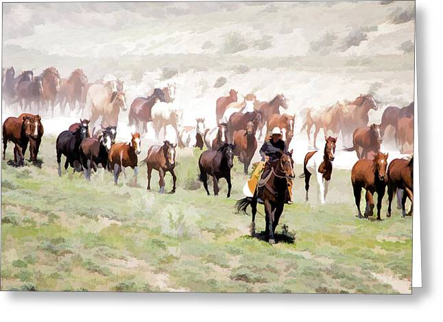 Raising Dust On The Great American Horse Drive In Maybell Colorado Greeting Card