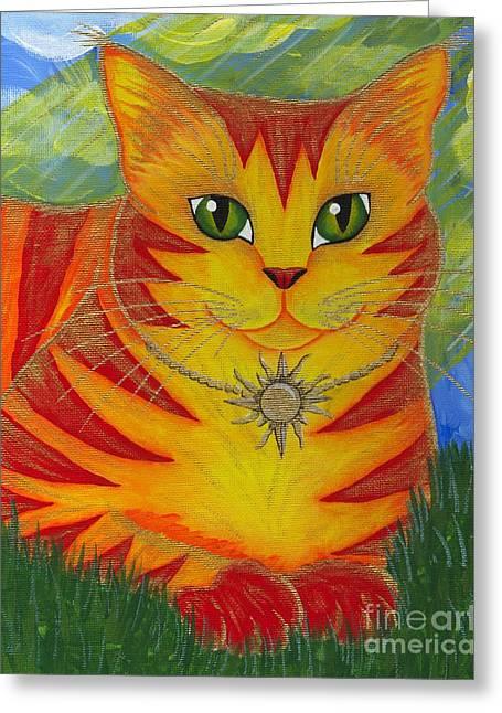 Rajah Golden Sun Cat Greeting Card
