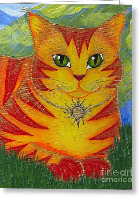Rajah Golden Sun Cat Greeting Card by Carrie Hawks