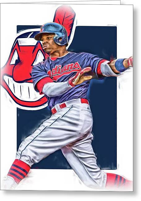 Rajai Davis Cleveland Indians Oil Art Greeting Card by Joe Hamilton