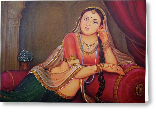 Rajasthani Art  Lonely Queen Is Waiting For Her Husband To Return From Battle Oil Painting On Canvas Greeting Card