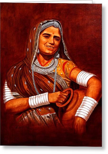 Rajasthani Lady Greeting Card by Pawan