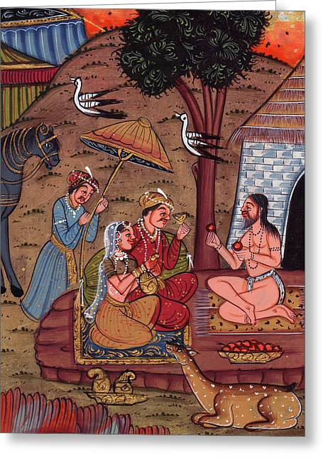 Rajput Royal King Vintage Art Miniature Forest Worship Painting Monk Watercolor Artwork India Greeting Card