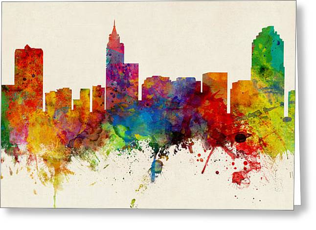 Raleigh North Carolina Skyline Panoramic Greeting Card by Michael Tompsett
