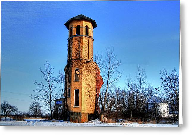 Raleigh School Tower Ruins Greeting Card by Mark Orr