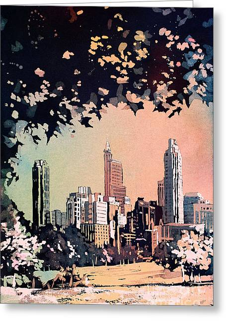 Greeting Card featuring the painting Raleigh Skyline V by Ryan Fox