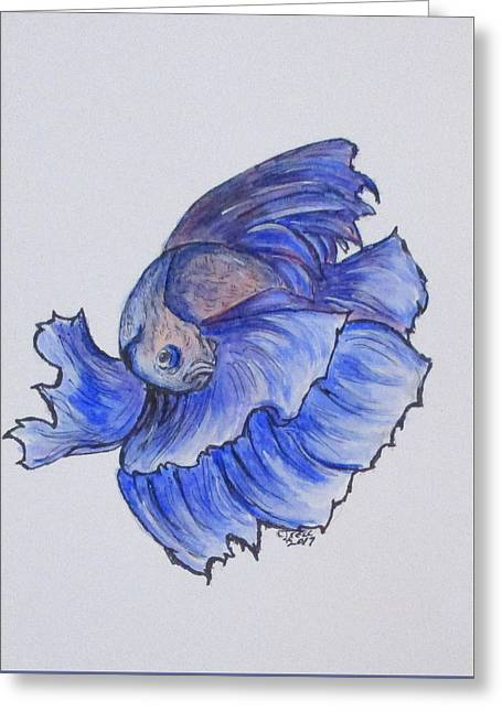 Greeting Card featuring the painting Ralphi, Betta Fish by Clyde J Kell