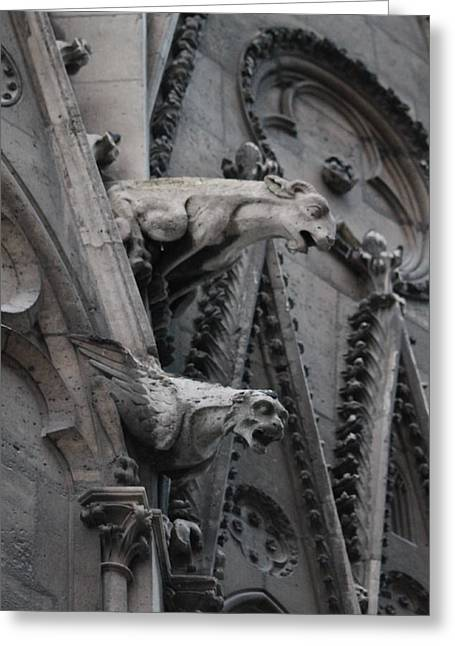 Greeting Card featuring the photograph Ram And Eagle Griffon Notre Dame by Christopher Kirby