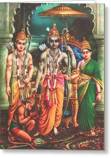 Ram Darbar Oil Painting Fine Artwork Greeting Card by A K Mundra