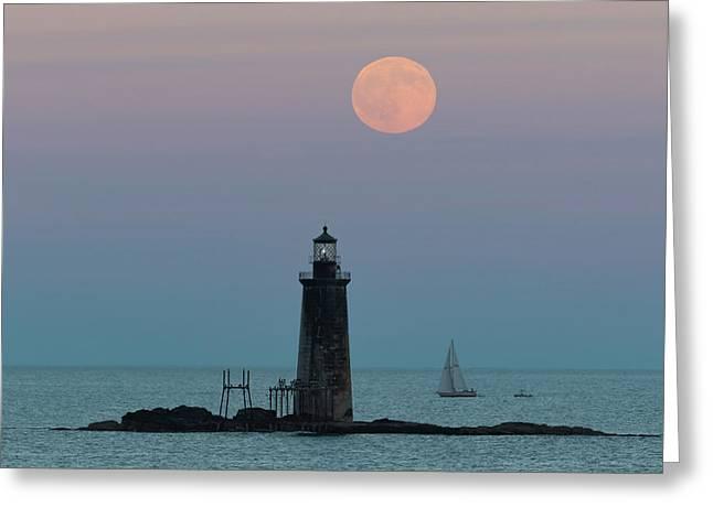 Ram Island Light Buck Moon And Sailboat Greeting Card