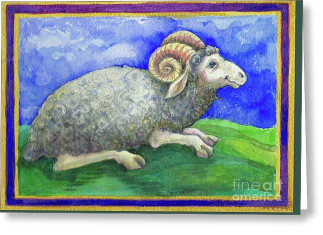 Greeting Card featuring the painting Ram by Lora Serra