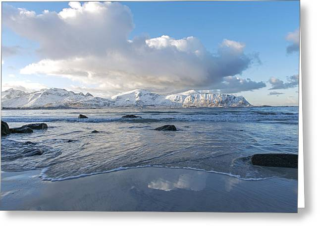 Ramberg Beach, Lofoten Nordland Greeting Card