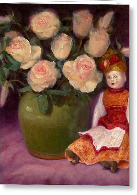 Greeting Card featuring the painting Ramblin Rose by Donelli  DiMaria
