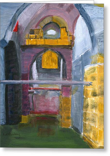 Greeting Card featuring the painting Ramla Israel Cisterns by Linda Feinberg