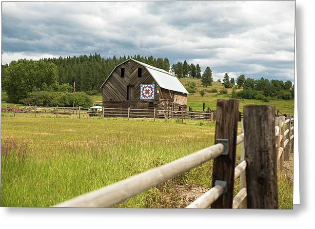 Ranch Fence And Barn With Hex Sign Greeting Card