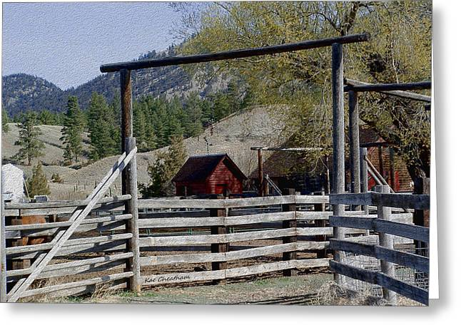 Ranch Fencing And Tool Shed Greeting Card by Kae Cheatham