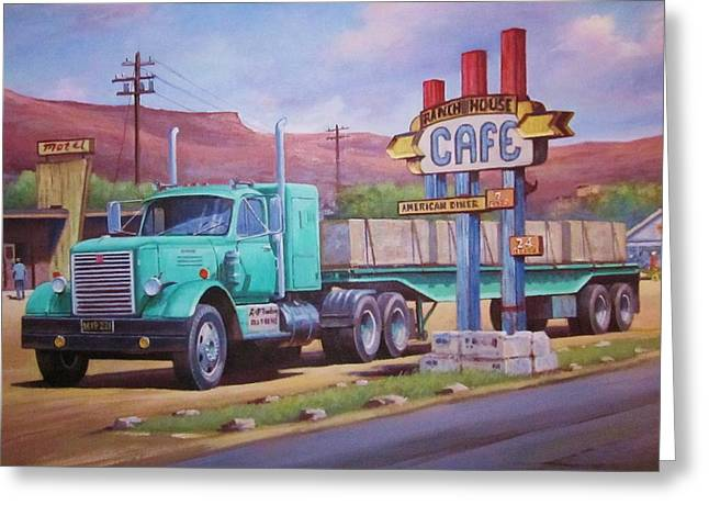 Greeting Card featuring the painting Ranch House Truckstop. by Mike Jeffries