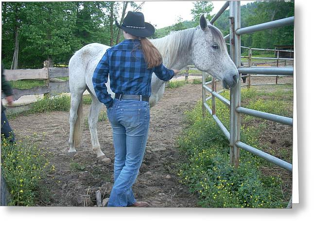 Ranchhand With Horsey Greeting Card by Beebe Barksdale-Bruner