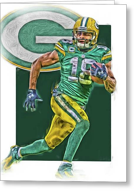 Randall Cobb Green Bay Packers Oil Art Greeting Card