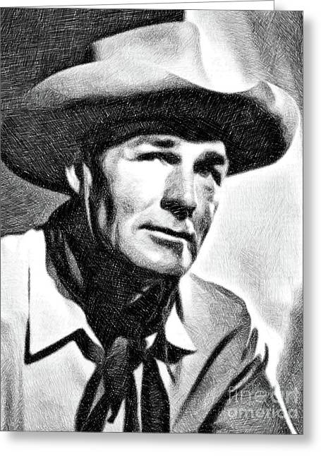Randolph Scott, Vintage Actor By Js Greeting Card