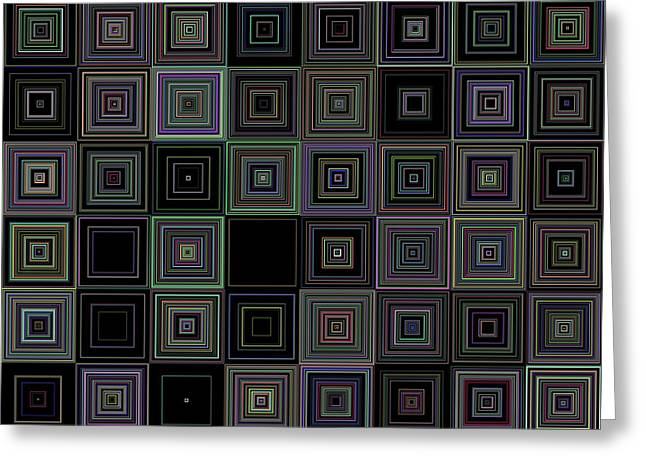 Random Colored Squares Greeting Card by Ron Brown