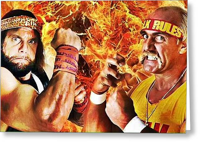 Randy Savage Vs Hulk Hogan Greeting Card by Michael Stout