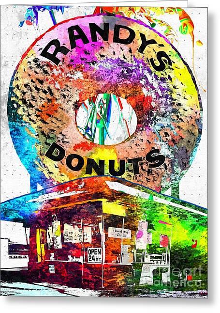 Randy's Donuts Grunge Greeting Card