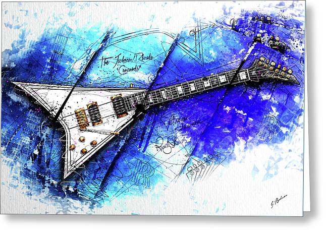 Randy's Guitar On Blue II Greeting Card by Gary Bodnar