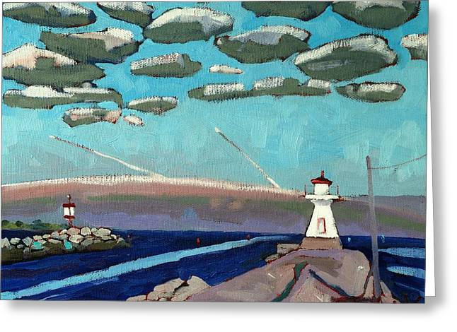 Range Light Dawn Greeting Card by Phil Chadwick