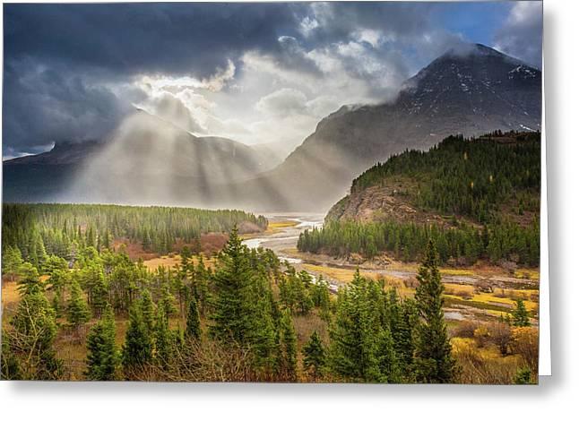 Range Of Light // Many Glacier Valley, Glacier National Park  Greeting Card