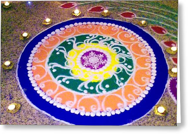 Rangoli- Festive Colours Greeting Card by Sunaina Serna Ahluwalia