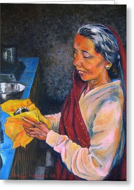 Rani The Cook Greeting Card by Art Nomad Sandra  Hansen