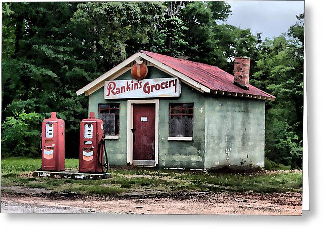 Rankins Grocery In Watercolor Greeting Card by Lynne Jenkins