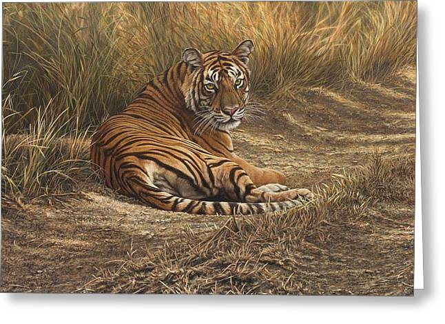 Greeting Card featuring the painting Ranthambore Roadblock by Alan M Hunt