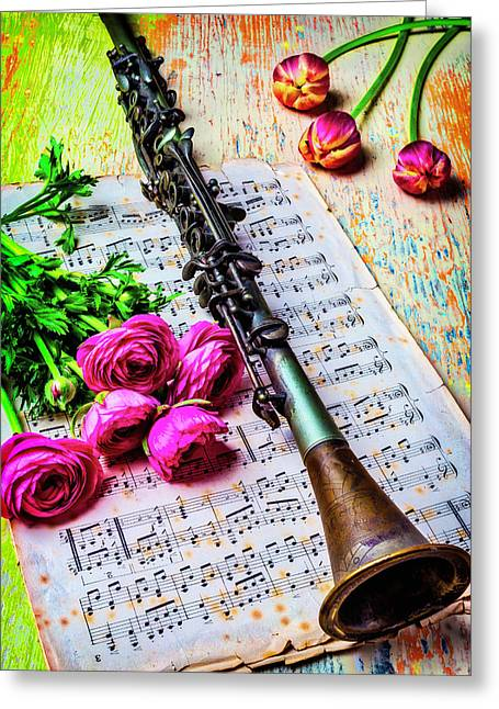 Ranunculus And Clarinet Greeting Card by Garry Gay