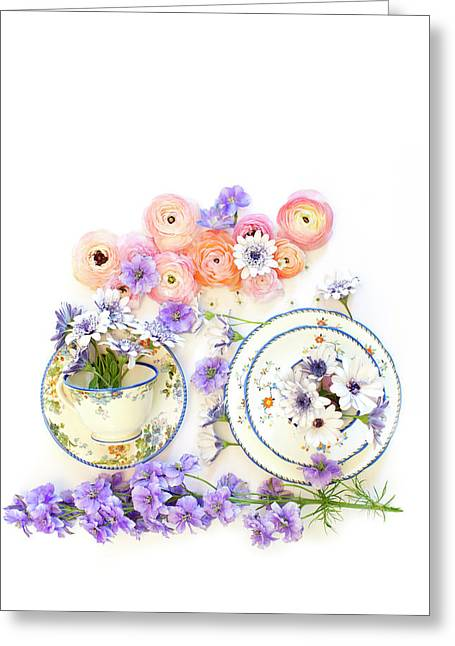 Ranunculus And Daisies With Vintage Tea Cups Greeting Card