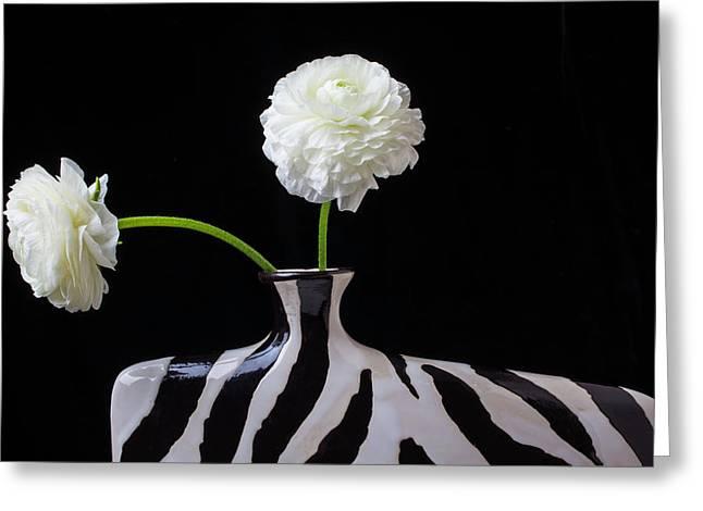 Ranunculus In Black And Whie Vase Greeting Card by Garry Gay