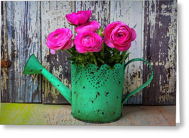 Ranunculus In Green Watering Can Greeting Card by Garry Gay