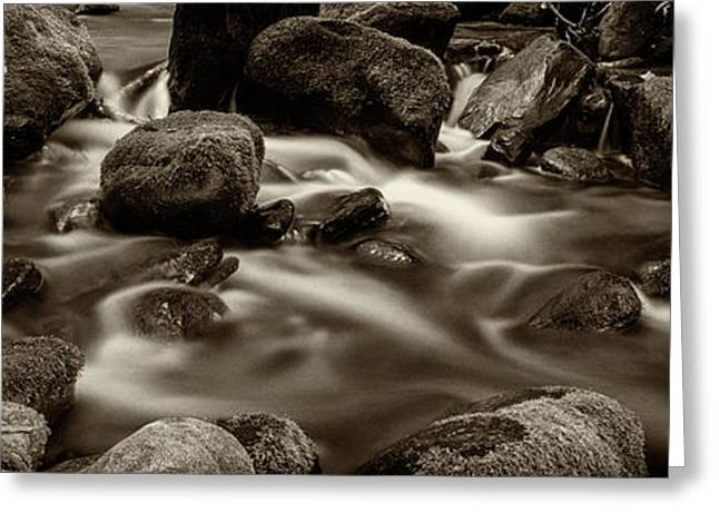 Roaring Fork Cascade - Sepia Greeting Card
